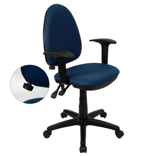 Flash Furniture Mid-Back Fabric Multi-Functional Task Chairs W/Arms & Lumbar Support