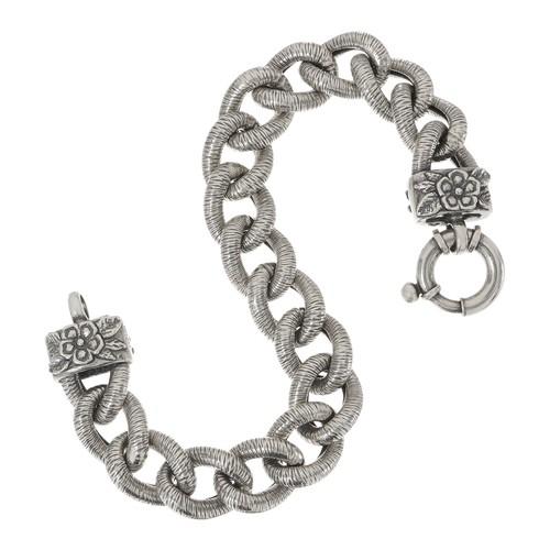 Or Paz Sterling Bold Curb Link Bracelet 38.0g