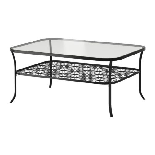 KLINGSBO Coffee table, black, clear glass