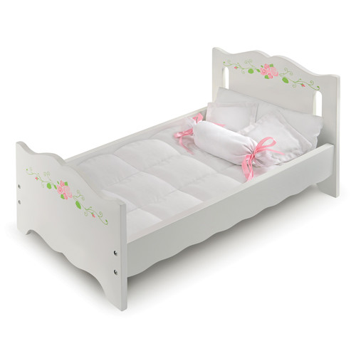 Badger Basket Doll Bed with Bedding - White Rose - Fits American Girl, My Life As & Most 18