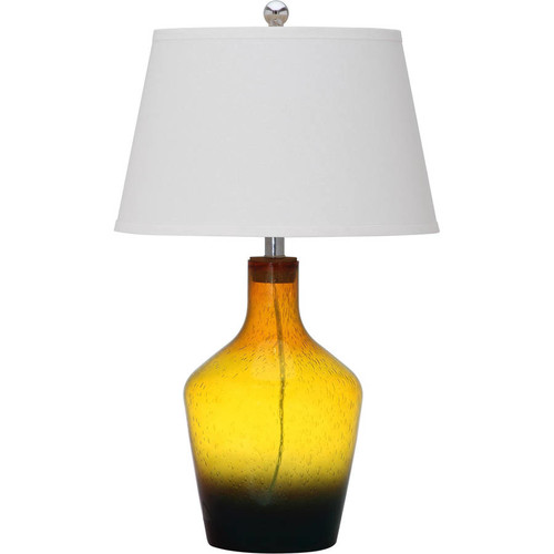 Safavieh Antiquarian Glass Table Lamp with CFL Bulb, Gold/Multi with Off-White Shade, Set of 2
