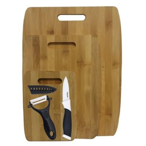 Culinary Edge 6 Piece Bamboo Ceramic Cutting Board Set; Black