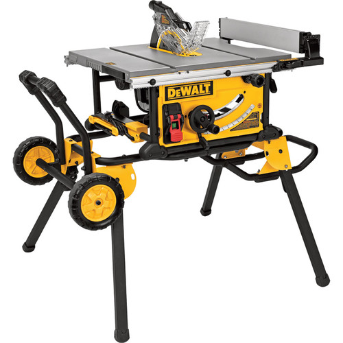 DEWALT 10in. Jobsite Table Saw  15 Amp, 32 1/2in. Rip Capacity, Rolling Stand,