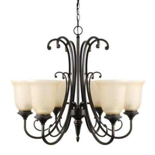 Globe Electric Beverly 6-Light Oil Rubbed Bronze Chandelier with Amber Glass Shade