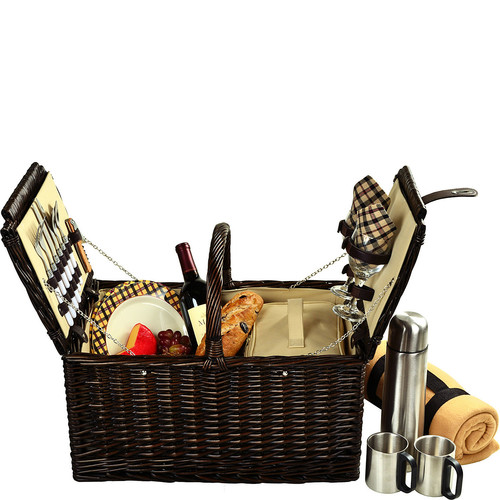 Picnic at Ascot Surrey Willow Picnic Basket with Service for 2 with Blanket and Coffee Set - London Plaid [Brown Wicker- London Plaid Plates/Napkins]