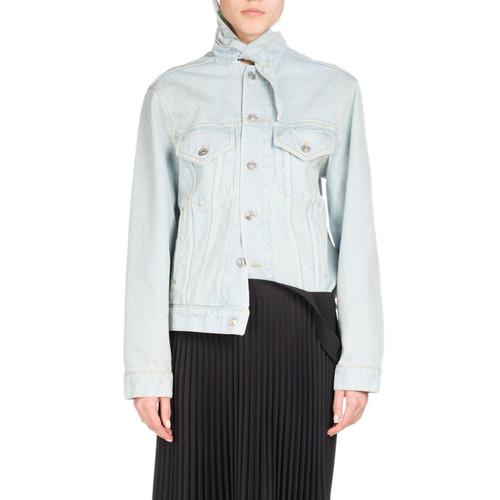 BALENCIAGA Stone-Wash Denim Jacket, Light Blue