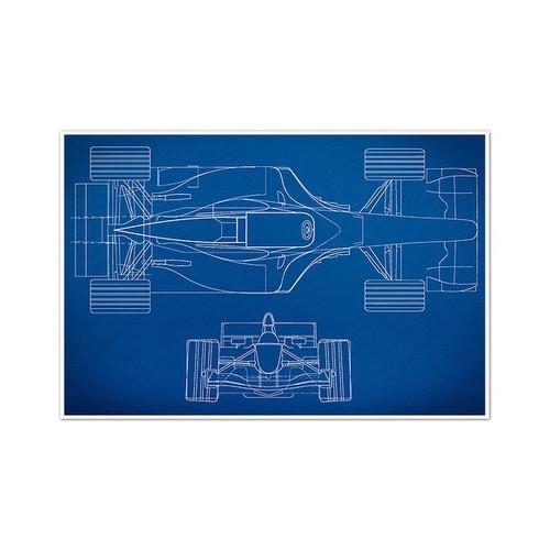 Race Car 1 Gearhead Blueprints Matte Poster 24x16