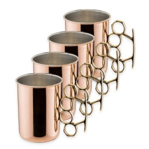 Dutch International 20 oz. Brass Knuckle Hammered Solid Copper Moscow Mule Mugs (Set of 4)