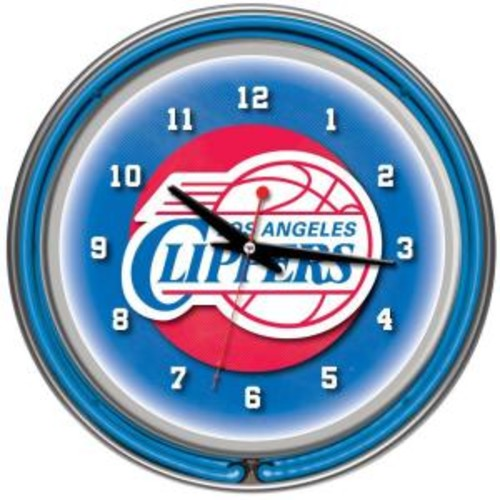 Trademark Global 14 in. Los Angeles Clippers NBA Chrome Double Ring Neon Wall Clock