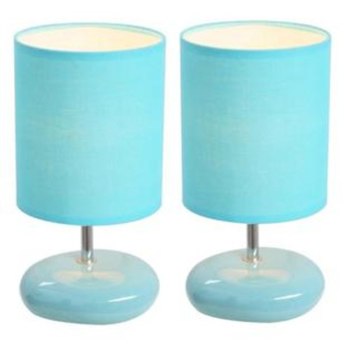 Simple Designs Stonies Small Stone Look Lamp Blue 2 Pack