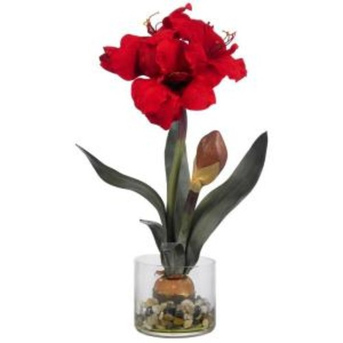 Nearly Natural 20 in. Amaryllis with Vase