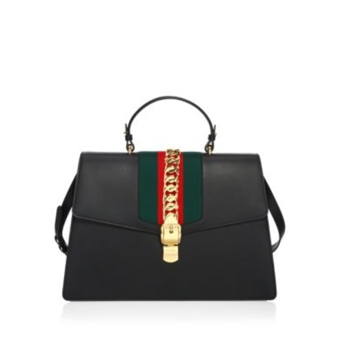GUCCI Maxi Sylvie Leather Top Handle Bag