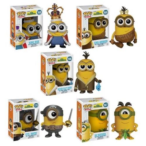 Funko - Minions Pop! Movie Vinyl Collectors Set: Minion King, Cro-Minion, Bored Silly Kevin, Eye Matie, Au Naturel