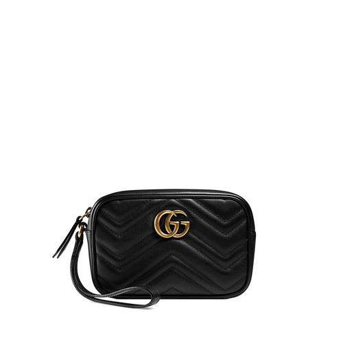 GUCCI Gg Marmont 2.0 Medium Quilted Wristlet, Black
