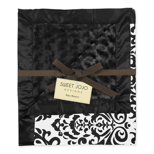 Sweet Jojo Designs Black and White Isabella Collection Baby Blanket