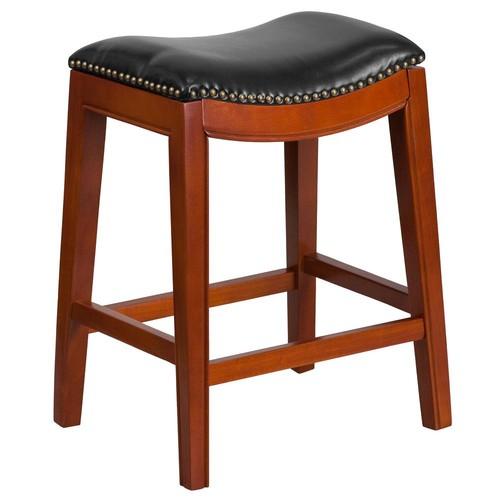 Flash Furniture 26 in. Light Cherry and Black Cushioned Bar Stool