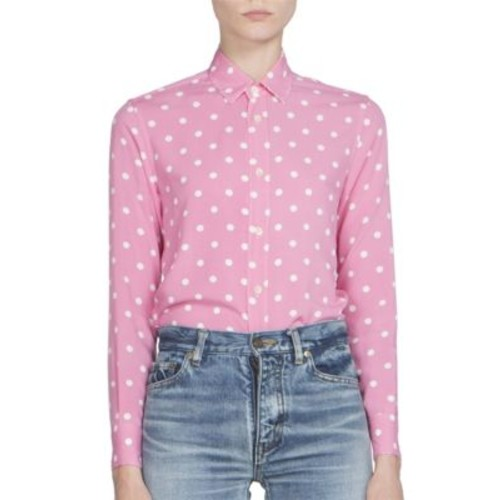 SAINT LAURENT Polka Dot Button Front Blouse