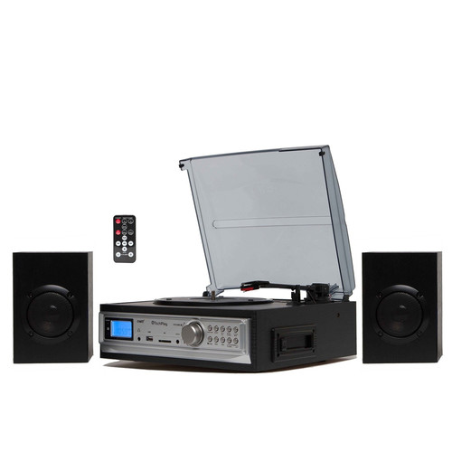 TECH PLAY 97096713M Black 3-Speed Turntable & Cassett player W/SD, USB and MMC