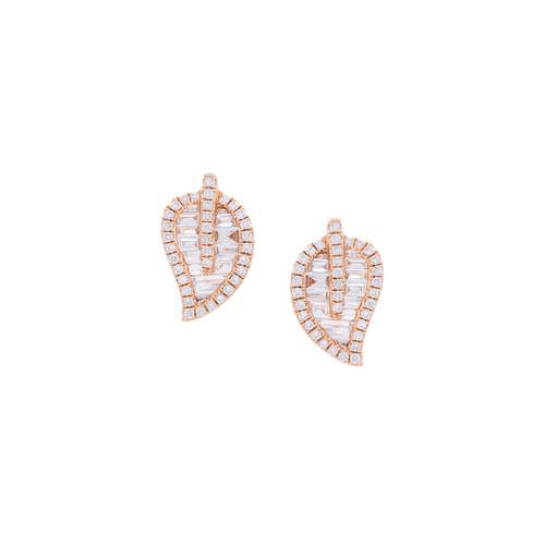small leaf stud diamond earrings