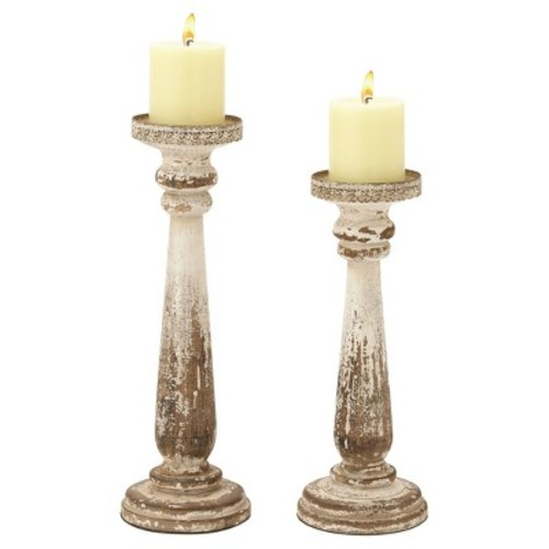 Rustic Reflections Wood Candle Holder Set 2ct - Olivia & May
