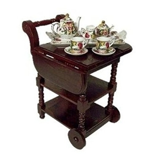 Wooden Drop Leaf Tea Cart Scaled for American Girl Dolls and 18