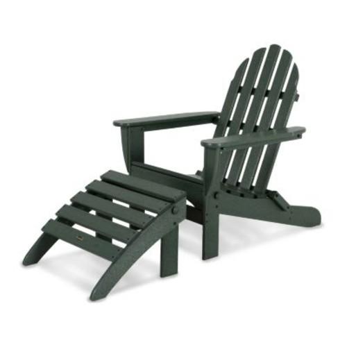 POLYWOOD 2-piece Classic Outdoor Folding Adirondack Chair & Ottoman Set