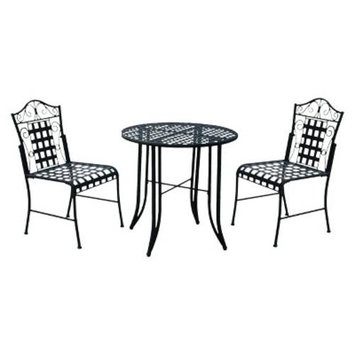 Mandalay 3-Piece Iron Patio Bistro Furniture Set - Antique Black