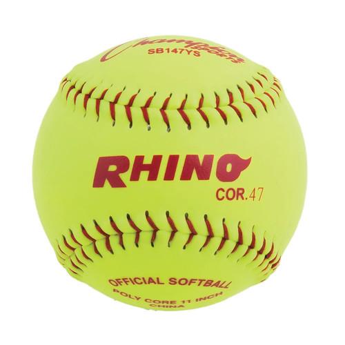 Champion Sports Synthetic Leather Softballs: 11 Inch Slow Pitch Polycore Yellow Softballs - 12 Pack