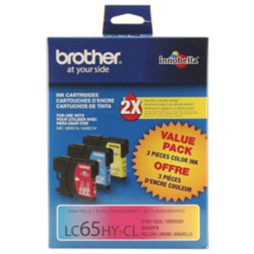 Brother LC65HY-CL High-Yield Tricolor Ink Cartridges, Pack Of 3