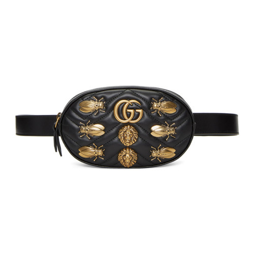 GUCCI Black Gg Marmont Animal Studs Belt Bag