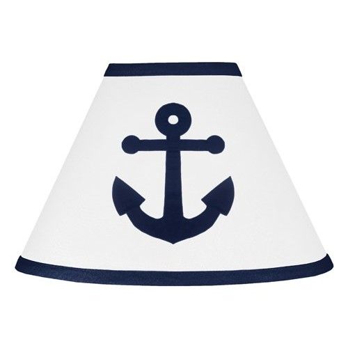 Sweet Jojo Designs Anchors Away Nautical Navy Blue and White Baby and Childrens Lamp Shade