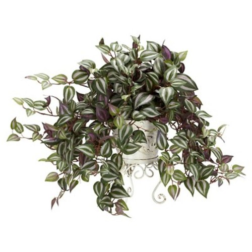 Wandering Jew with Metal Planter Silk Plant