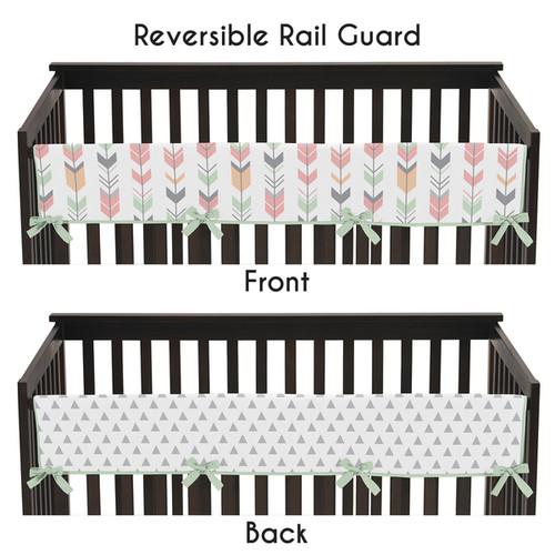 Sweet Jojo Designs Mod Arrow Collection Coral/Mint Microfiber Long Crib Rail Guard Cover