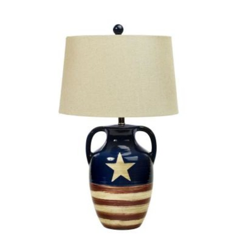 Fangio Lighting 26 in. Star Spangled Banner Flag Ceramic Table Lamp