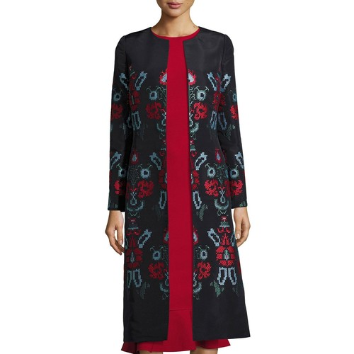 OSCAR DE LA RENTA Cross-Stitch Embroidered Silk Coat