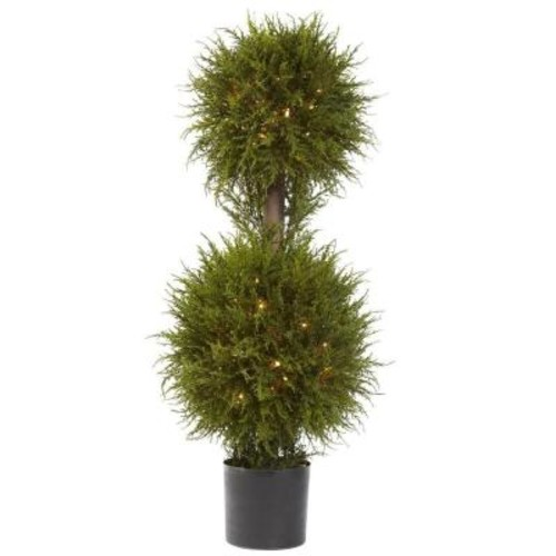 Nearly Natural 40 in. Cedar Double Ball Topiary with Lights