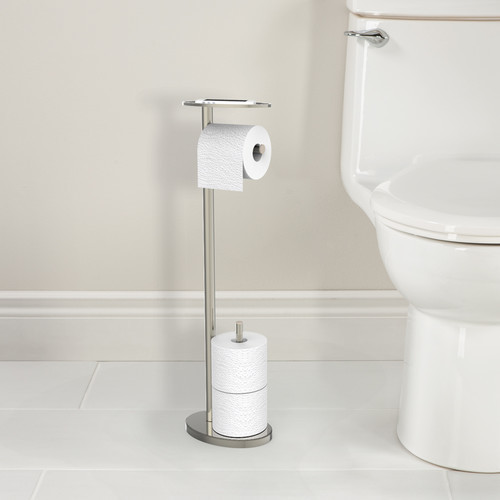 Ovo Free Standing Toilet Caddy [Finish : Chrome]