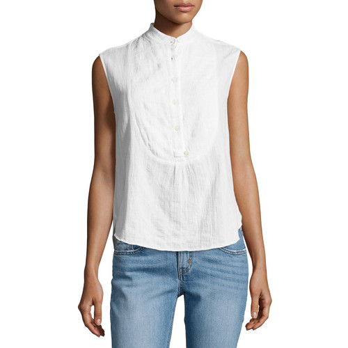 DEREK LAM 10 CROSBY Sleeveless Gauze Tuxedo Shirt, White