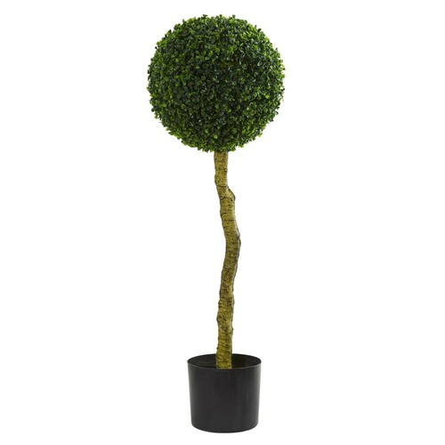 Nearly Natural 3.5 in. UV Resistant Indoor/Outdoor Boxwood Artificial Topiary Tree