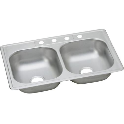Elkay Dayton Drop-In Stainless Steel 33 in. 4-Hole Double Bowl Kitchen Sink