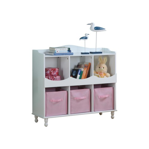 Pilaster Designs - Wood 6 Cubby Storage Cabinet with 3 Pink Fabric Bins, White Finish