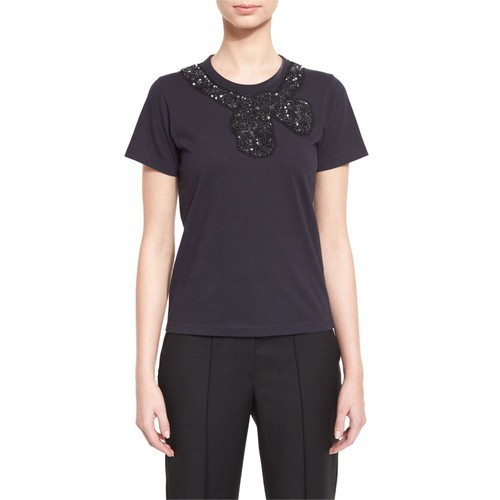 MARC JACOBS Sequined Bow-Embellished Tee, Navy
