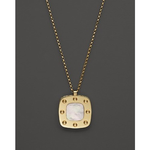 18K Yellow Gold and Mother-of-Pearl Pois Moi Pendant Necklace, 17