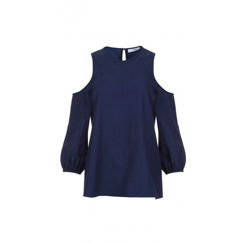 TIBI Washed Indigo Cut Out Shoulder Top