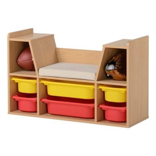 Kids' Storage Bench with Bins - Natural - Homestar