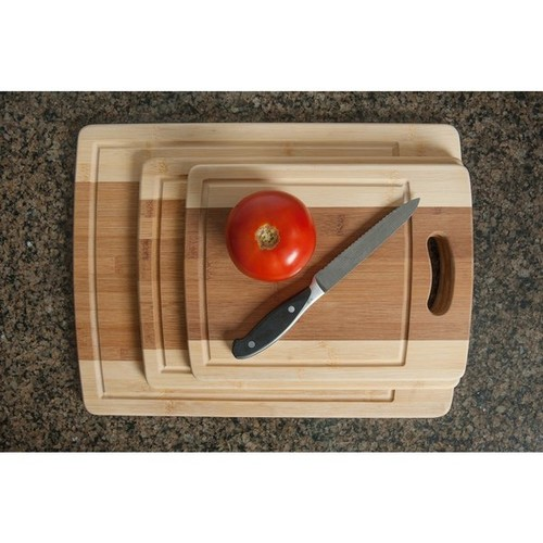 3-piece Cutting Board Set - Organic Bamboo Cutlery Chopping Board Set with Drip Groove