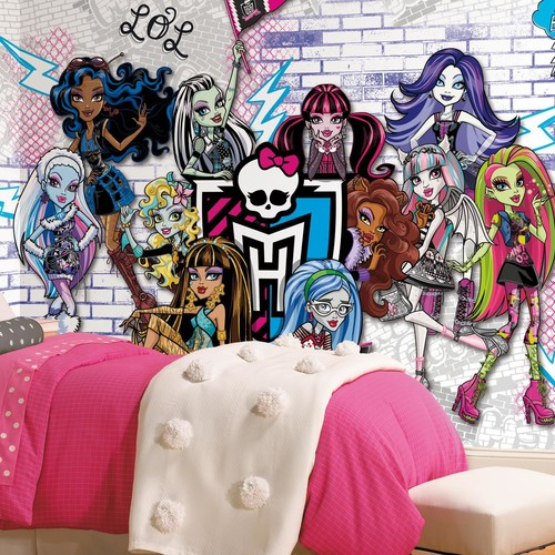 Monsters High XL Chair Rail Prepasted Mural 6' x 10.5' - Ultra-strippable