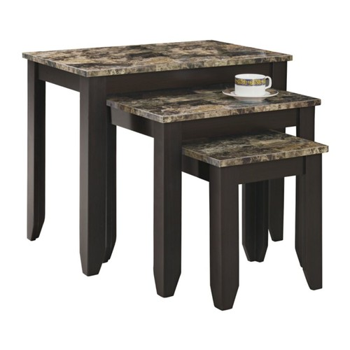 Monarch Specialties Marble-Top Nesting Table Set, Cappuccino/Marble