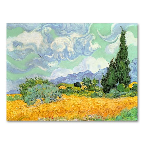 Trademark Global Vincent van Gogh 'Wheatfield with Cypresses 1889' Canvas Art [Overall Dimensions : 18x24]