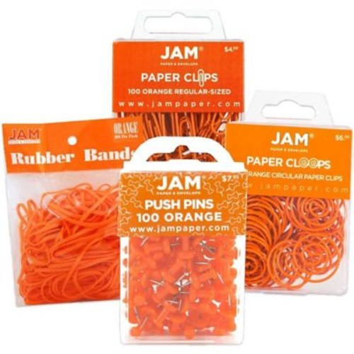 JAM Paper Office Supply Assortment, 1 pack Rubber Bands, Push Pins, Paper Clips, Round Paperclips, Orange, 4/pack (3224OROASRT)